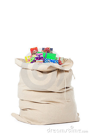 Christmas sack on white with many gifts