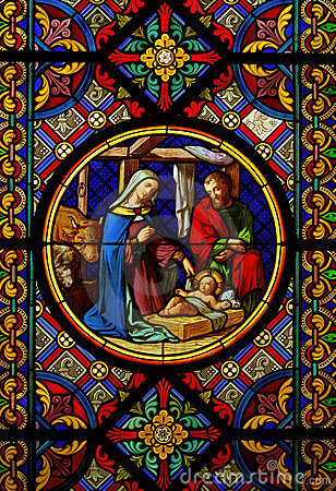 Christmas.Stained glas window