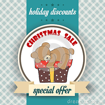 Christmas sale design with teddy bear