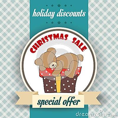 Christmas sale design with teddy bear