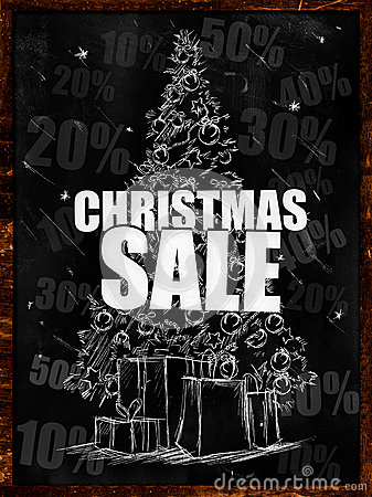 Christmas Sale Drawing on blackboard