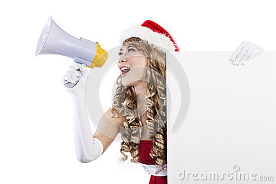 Christmas sale by Mrs Claus holding blank sign