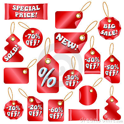 Christmas Sale Tags With Snow Letters