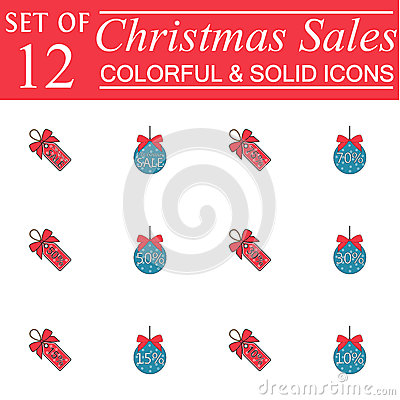 Christmas sales and balls with ribbons color icons Vector Illustration
