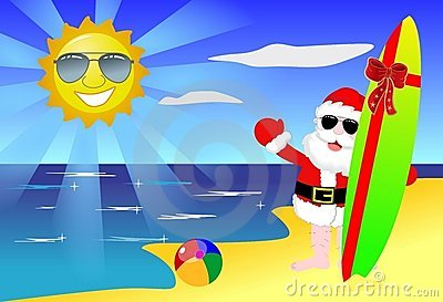 Christmas Santa on the Beach