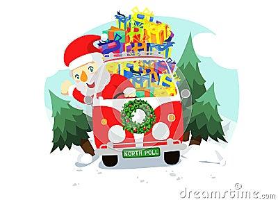 Christmas santa in the car