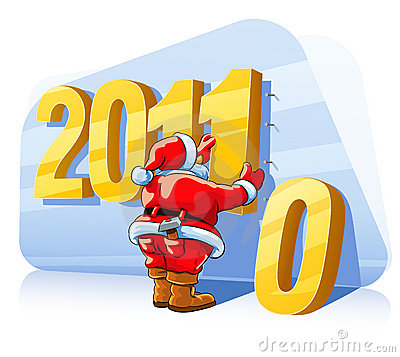 Christmas santa claus changes a number of new year