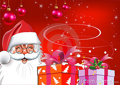 Christmas. Santa Claus with gifts. Red background