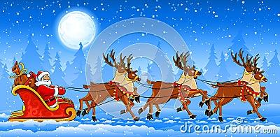 Christmas Santa Claus riding on sleigh
