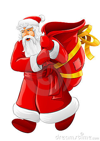 Christmas Santa Claus walking with big empty sack