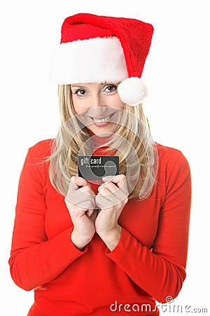 Christmas -  Santa girl gift card