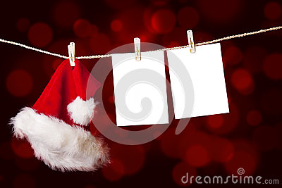 Christmas-santa-hat-and-notes-hanging-on-tree