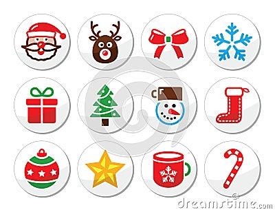 Christmas, santa  icons set