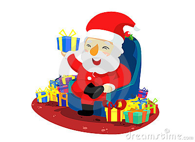 Christmas santa with present