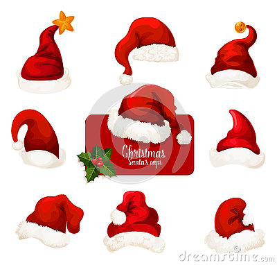 Free Christmas Santa Red Hat And Cap Cartoon Icon Set Stock Photography - 81352852
