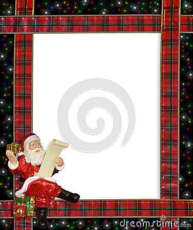Christmas Santa ribbons border frame