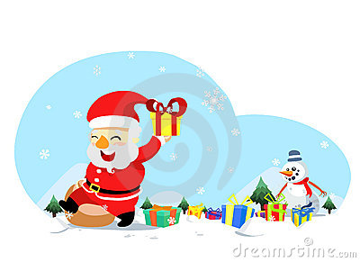 Christmas santa with snowman
