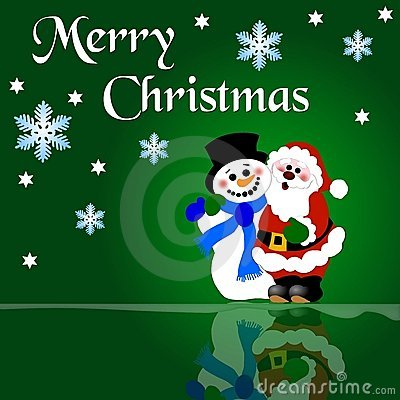 Christmas Santa and snowman