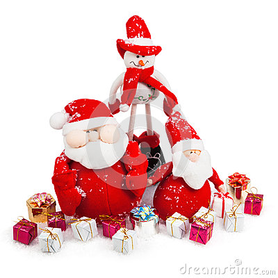 Christmas Santa and Snowman with gifts