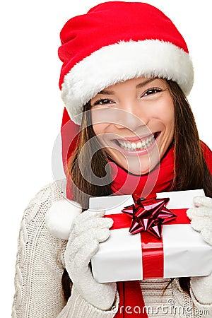 Christmas santa woman holding gift