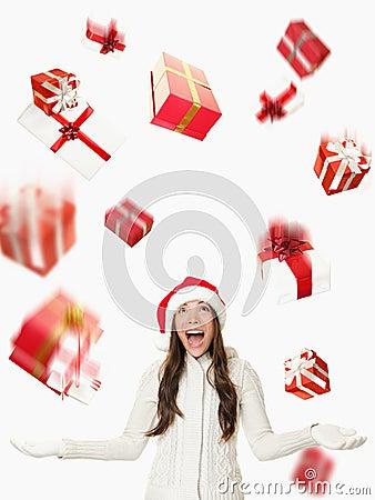 Christmas Santa woman - raining gifts