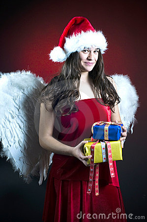 Christmas scene with angel girl
