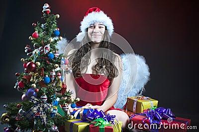 Christmas scene with angel girl