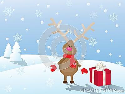 christmas scene with deer