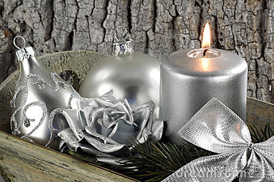Christmas scene with silver candle