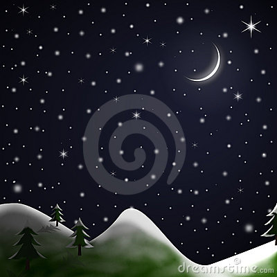 Christmas Scene - Starry Snowy Night