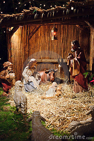 Christmas scene with three Wise Men and baby Jesus