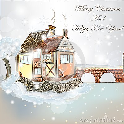 Free Christmas Scene With House In Snow Royalty Free Stock Images - 43137869