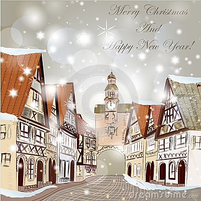 Free Christmas Scene With Houses In Snow Stock Photo - 33599670