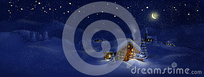 Christmas scenic panorama landscape - huts, church, snow, pine trees, Moon and stars