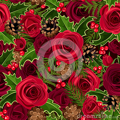 Free Christmas Seamless Background With Roses And Holly Stock Photos - 35384413