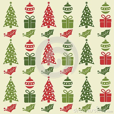 Christmas seamless pattern with balls, Christmas trees, gifts a Vector Illustration