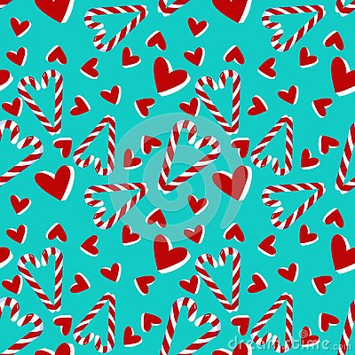 Christmas seamless pattern with candy cane and hearts . Vector Illustration