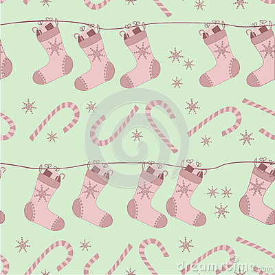 Christmas seamless pattern with socks and canes
