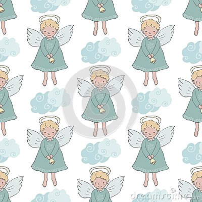 Free Christmas Seamless Pattern With Cute Angels With Bell Royalty Free Stock Image - 102354336