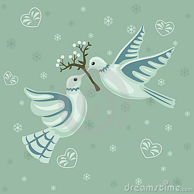 Free Christmas Seamless Pattern With Doves Stock Photo - 16763360