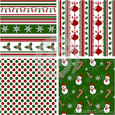 Free Christmas Seamless Patterns. Vector Illustration. Royalty Free Stock Images - 34826409