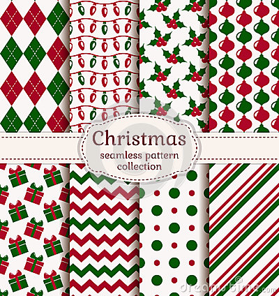 Free Christmas Seamless Patterns. Vector Set. Stock Photo - 47564640