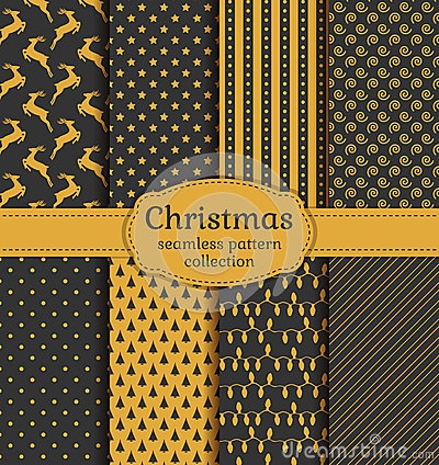 Free Christmas Seamless Patterns. Vector Set. Royalty Free Stock Photos - 47599158