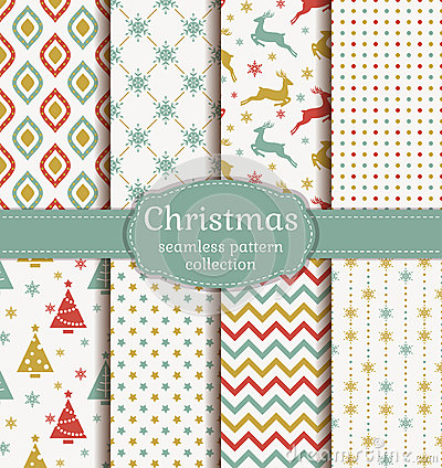 Free Christmas Seamless Patterns. Vector Set. Stock Images - 61596524