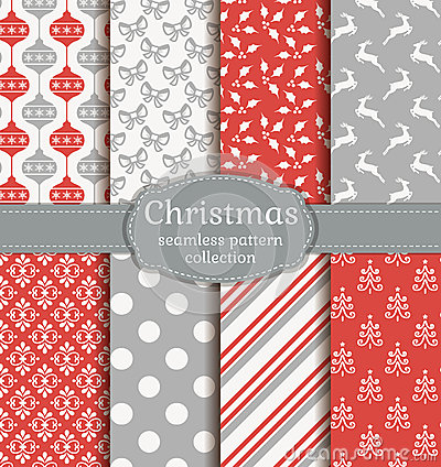 Free Christmas Seamless Patterns. Vector Set. Stock Photo - 62437270