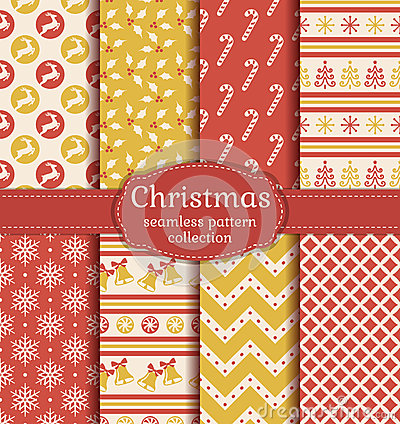 Free Christmas Seamless Patterns. Vector Set. Royalty Free Stock Photography - 62437367