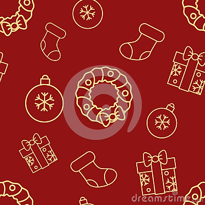 Christmas seamless red pattern with simple yellow icons. Ornament ball, gift box with bow, sock and door wreath. Vector Illustration