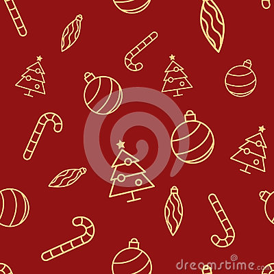 Christmas seamless red pattern with simple yellow icons. Ornament ball, ornament icicle, xmas tree and candy cane. Vector Illustration