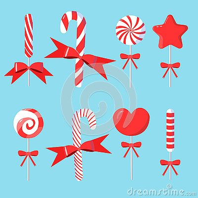 Christmas set of candy cane with bows in modern flat design Vector Illustration