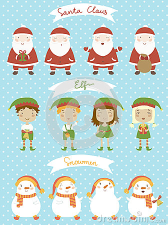 Christmas set. Cartoon characters in the vector